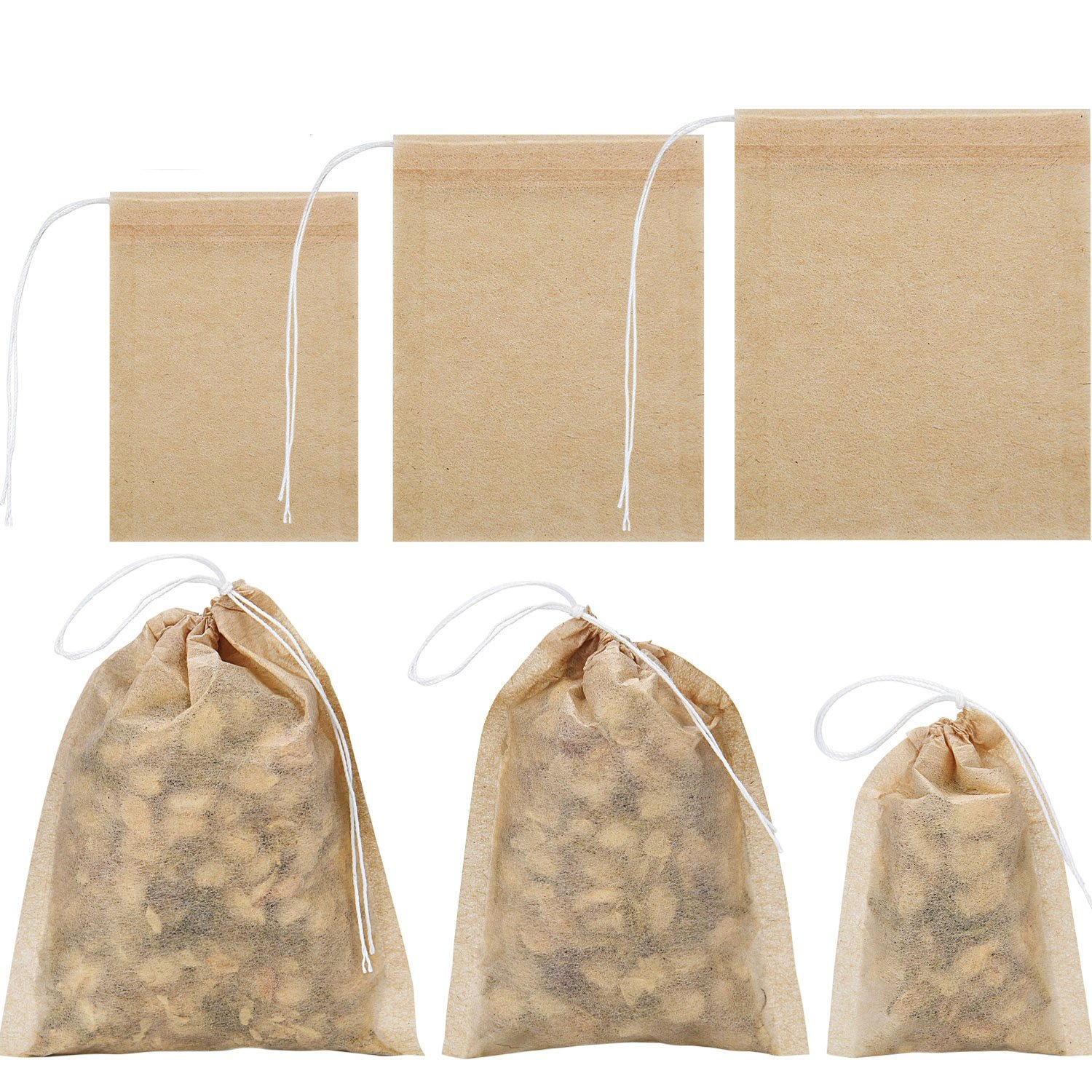 BBTO 300 Pieces 3 Sizes Tea Filter Bags Disposable Tea Infuser with Drawstring for Loose Leaf Tea