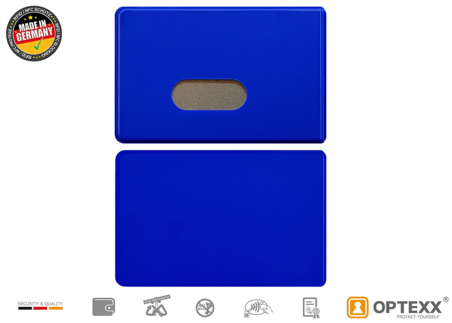 for credit//debit cards wallet Fred personal ID card case RFID protective case hard plastic case RFID blocker blue RFID chips blocker OPTEXX/® pack of 3