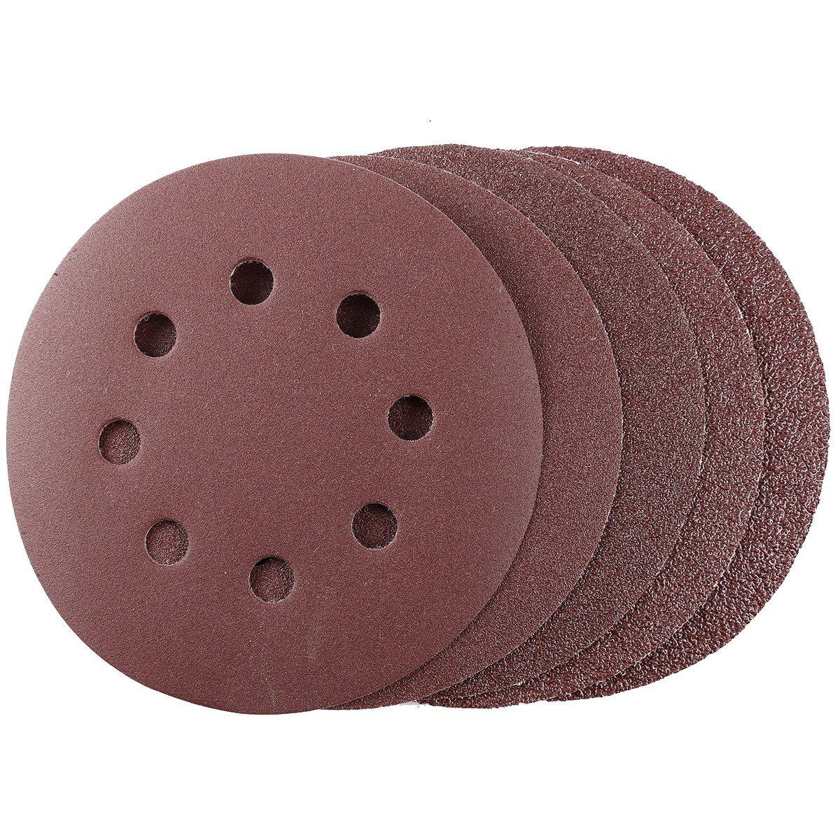 CLE DE TOUS - 100pcs Disco de Lijar 125mm (8 Perforaciones) Papel de Lija Redondo Con Velcro 40#60#80#120#240# Anladia