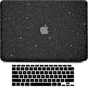 B BELK Compatible with MacBook Air 13 inch Case 2020 2019 2018 Release A2337 M1 A2179 A1932 Touch ID, Sparkly Girly Leather Laptop Hard Shell Case + Keyboard Cover, MacBook Air 2020 Case Retina, Black