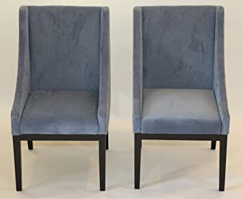 Home Life Contemporary Microfiber Modern Sofa Arm Chairs (Set Of 2), Blue