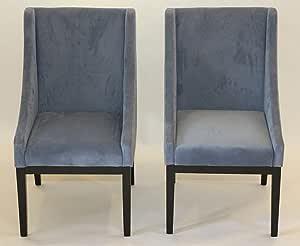 Home Life Contemporary Microfiber Modern Sofa Arm Chairs (Set of 2), Blue