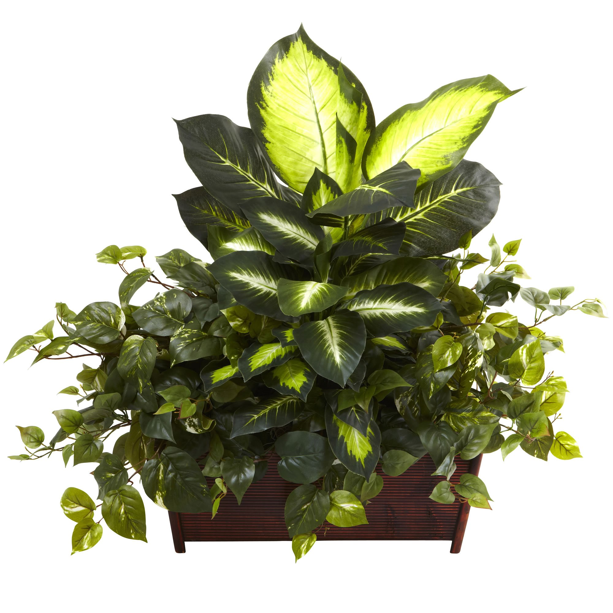 Nearly Natural 6803 Dieffenbachia Philo and Pothos with Wood Planter, Golden