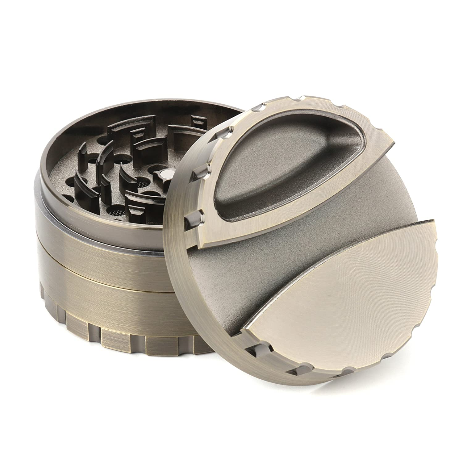 80MM Multifunctional Grinder, Fancyli Big Size 4 Pieces Tobacco Grinder herb Grinder Spice Grinder Herb Grinder Ashtray Clip Grinder 3-1 Design with Pollen Catcher