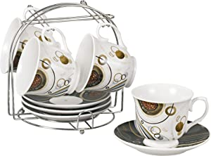 Lorren Home Trends 9-Piece Tea/Coffee Set with Iron Stand, Coffee Bean Design, Neutral Black and Brown