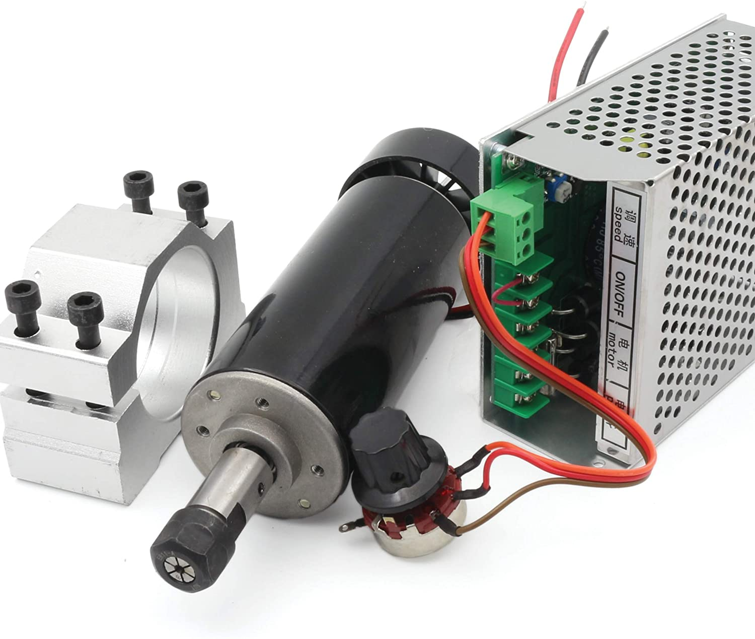 RATTMMOTOR 500W CNC Air Cooled Spindle Motor ER11 12000RMP + Input Voltage AC110V-220V Speed Controller with Power Supply + 52mm Clamp for CNC Rounter Milling Machine