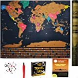 Scratch off World Map Travel Tracker Poster - w/ US States & Country Flags, FREE ACCESSORIES include Map Scratcher, Map Pins and 2 E-Books! Gift Ready Package. Classroom Learning Tool (32 x 24 Inches)