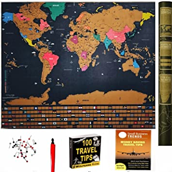 Amazon scratch off world map travel tracker poster w us scratch off world map travel tracker poster w us states country flags gumiabroncs Images