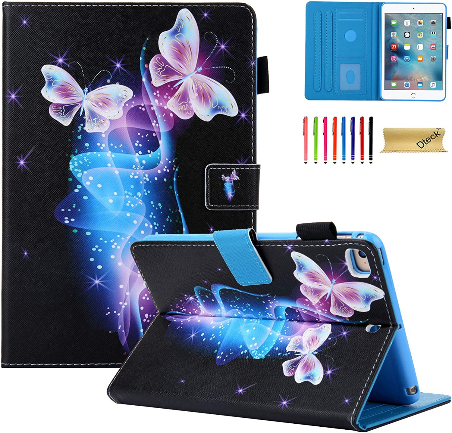 iPad Mini 4 Case, iPad Mini 5 Case, Case iPad Mini for Girls/Kids, Dteck Folio Leather Multi-Angle Viewing Smart Cover with Sleep/Wake Function for Apple iPad Mini 5/Mini 4/3 2 1, Twinkle Butterfly