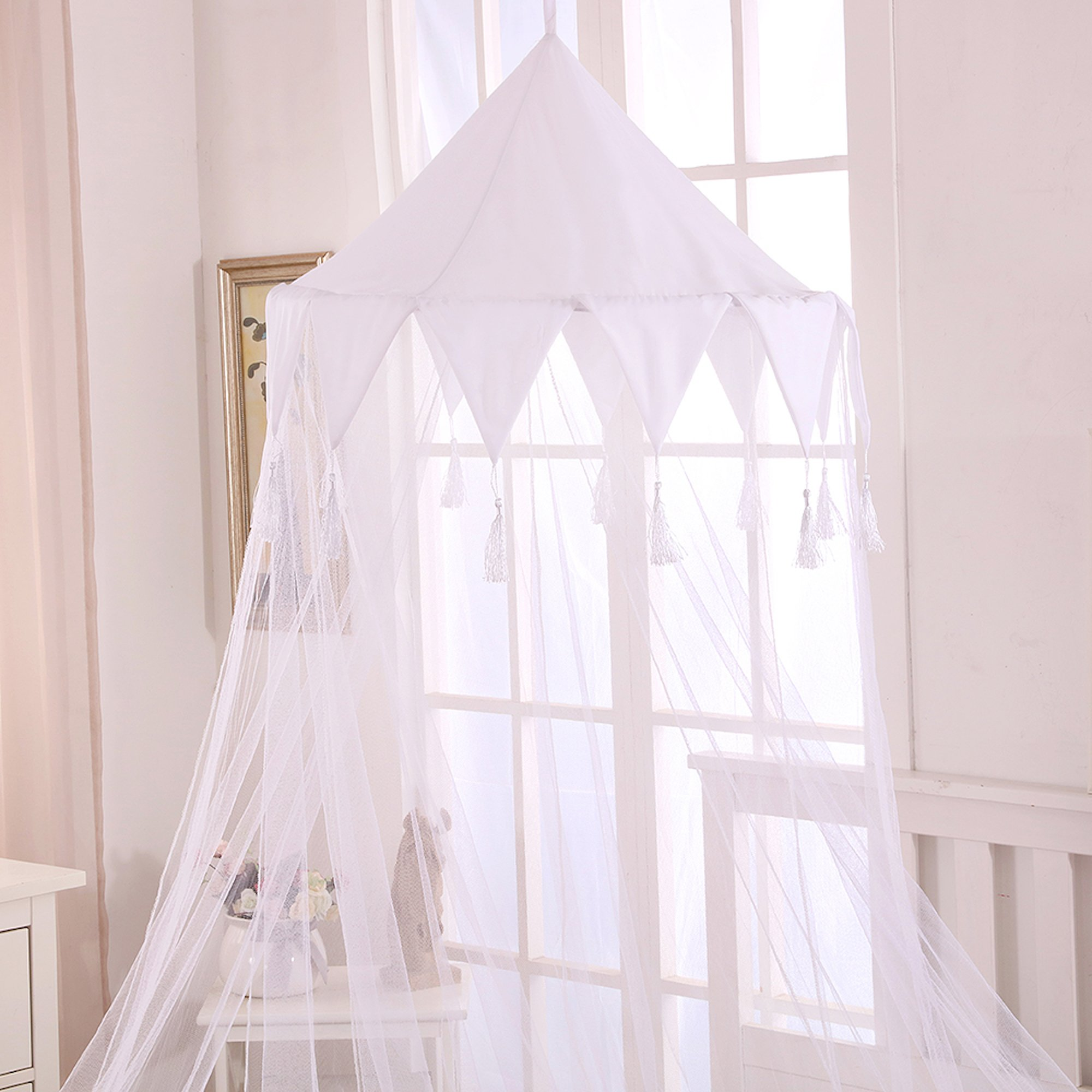 Fantasy Kids Harlequin Kids Collapsible Hoop Sheer Bed Canopy, One Size, White