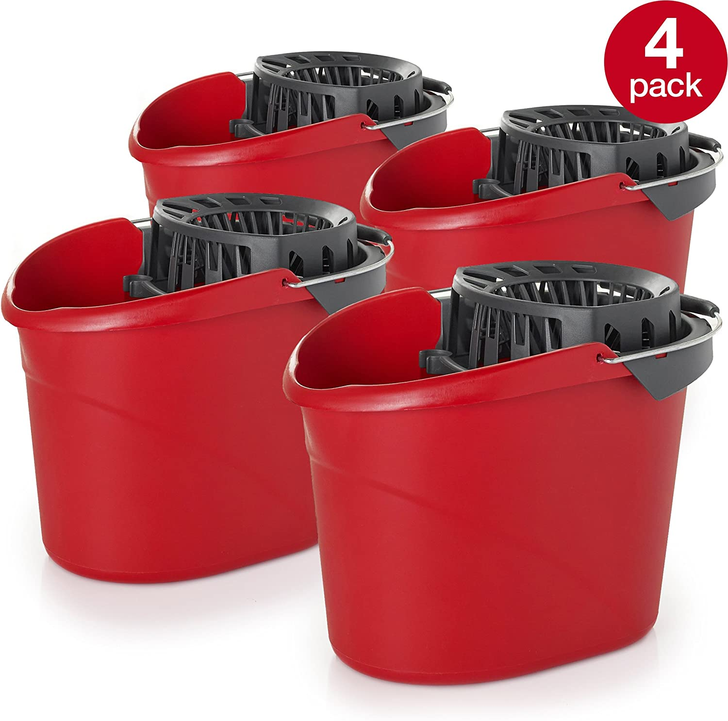 Pack of 4 O-Cedar Quick Wring Bucket 2.5 Gallon Bucket With Wringer