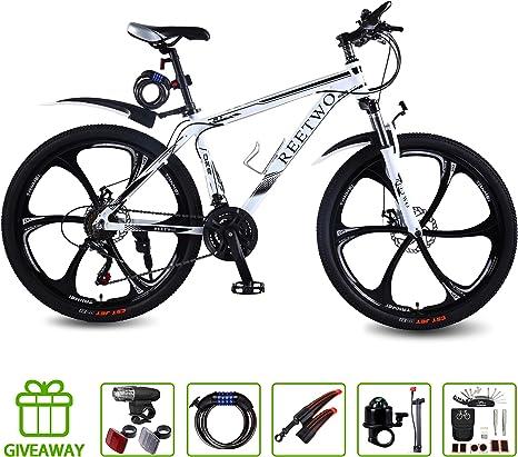 REETWO Bicicleta Hombre Montaña, Bicicleta Montaña 26 Pulgadas, Bicicleta Adulto 21 velocidades con Doble Freno Disco,Bicicleta Cuadro de Aluminio Bici 26 Pulgadas Hombre: Amazon.es: Deportes y aire libre