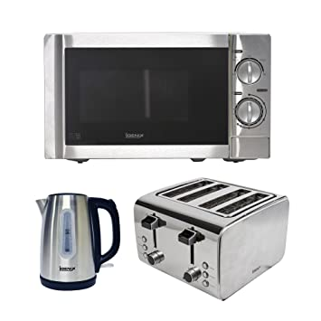 7c9187991cb1 Igenix IGPK01 Kitchen Set, Kettle, 4 Slice Toaster and Microwave - Brushed  Stainless Steel