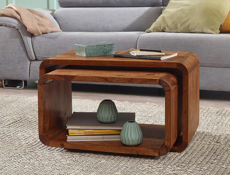 Wohnling 2er Set Satztisch Massiv Holz Sheesham Wohnzimmer Tisch