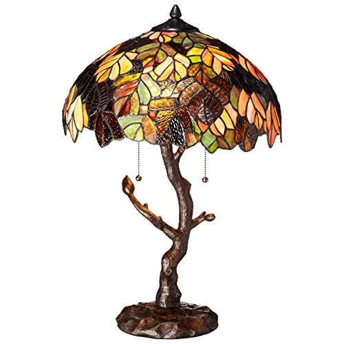Tiffany Style Stained Glass Table Lamp 24.5 Inch Victorian Style Colorful Maple Leaf Accent Lamp with Vintage Bronze Tree Trunk Base – High-End, Decorative Table Lamps for Small Elegant Home Decor
