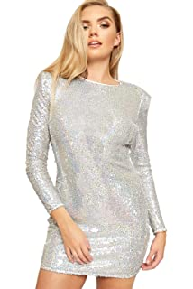 64246d77880b WearAll Women's Long Sleeve Sequin Glitter Lined Ladies Bodycon Mini Party  Dress 6-14