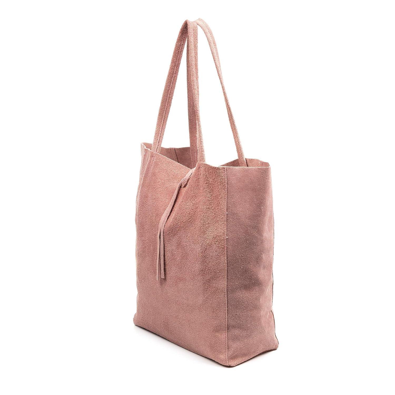 Color: Cipria Sefora Bolso Shopper Mujer.Piel aut/éntica Gamuza Made in Italy FIRENZE ARTEGIANI Vera Pelle Italiana.29x14x35 cm