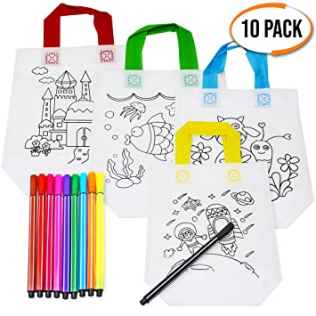 THE TWIDDLERS 10pcs Bolsas para Colorear, Bolsos DIY + 10 Lápices Textiles, Bolsa Infantiles Colorear Graffiti, Manualidades para Niños, Favores De ...
