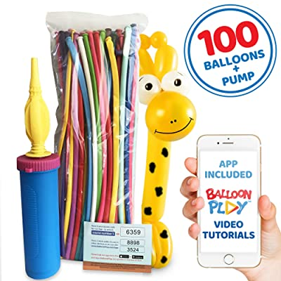 Balloon Animal Basic Kit with App | 100pcs Long Animal Balloons, Handheld Pump and Balloon App with 24+ Video tutorials, Hours of Fun for Boys, Girls and Adults of All Ages.: Toys & Games