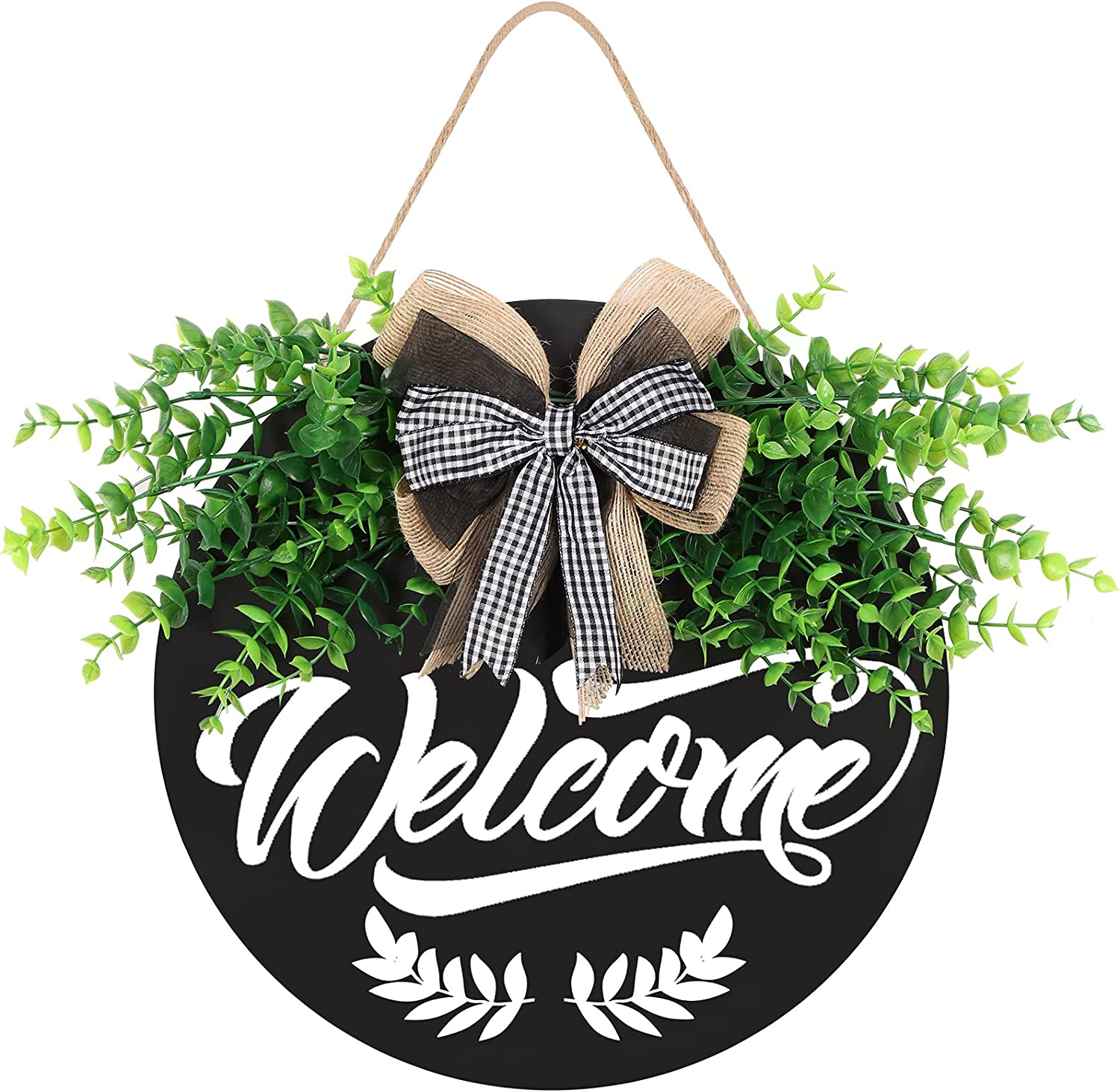 Welcome Sign for Front Door, Front Door Decor for Farmhouse Front Porch Decor, Welcome Farmhouse Sign with Stapled Greenery, Wooden Welcome Door Hanger Housewarming Gift for Home Farmhouse Decoration