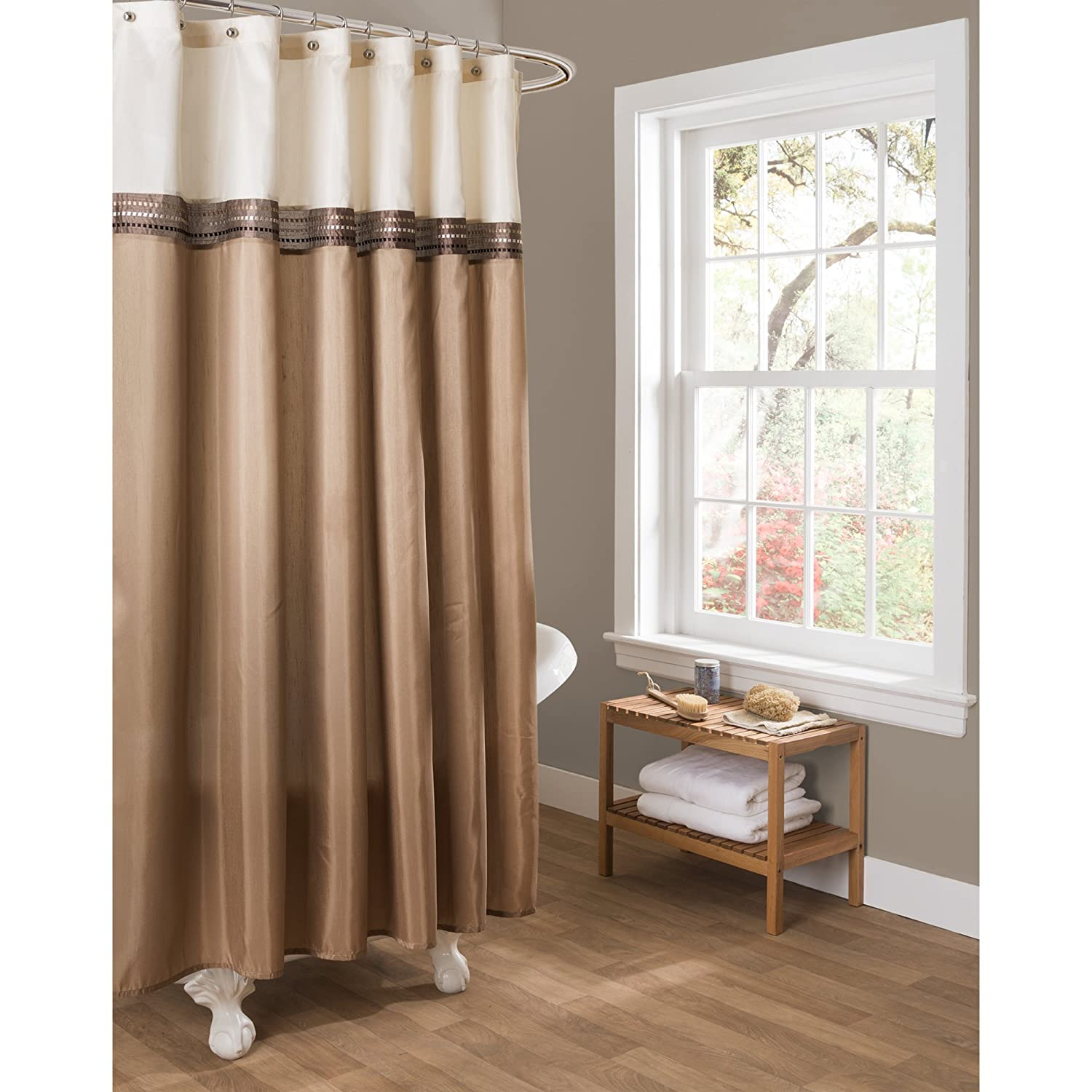 Brown shower curtains - Amazon Com Lush Decor Terra Shower Curtain 72 By 72 Inch Beige Ivory Home Kitchen