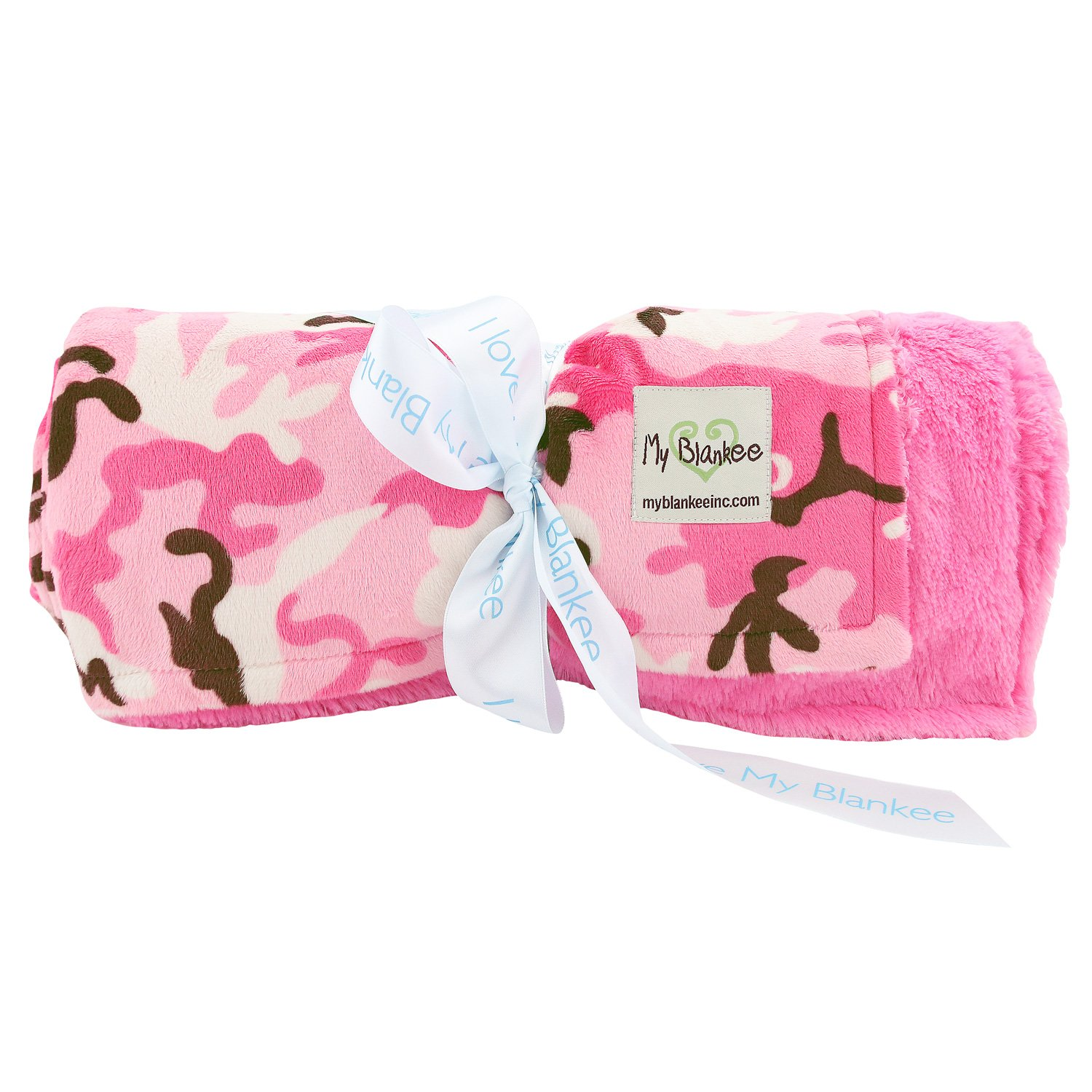 Pink Camouflage W/ Luxe  Back Hot Pink Throw Blanket 52''X 60''