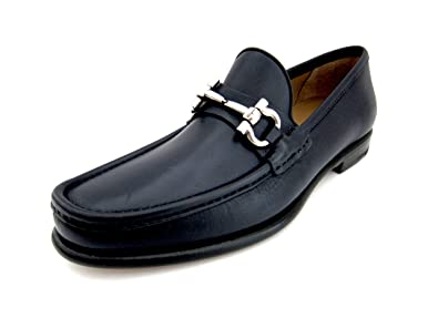 f231407dccc Salvatore Ferragamo Mason Mens Blue Leather Loafers Shoes Made in Italy (8  D(M