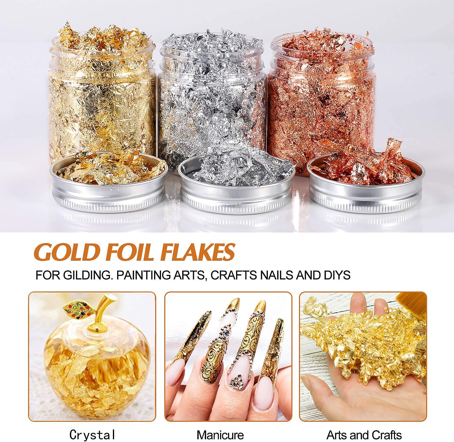 Gold Foil Flakes For Resin 3 Bottles Metallic Foil Flakes 15 Gram Yuliktor Imitation Gold Foil Flakes Metallic Leaf For Nails Painting Crafts Slime And Resin Jewelry Making Gold Silver Copper Colors Arts Crafts Sewing Amazon Com
