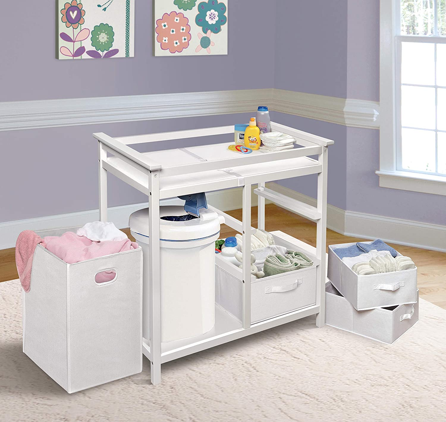 Fresh White//White 3 Storage Baskets Badger Basket Modern Baby Changing Table with Laundry Hamper /& Pad