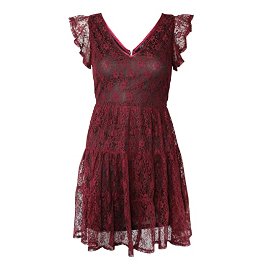 Amazoncom Andree By Unit Womens V Neck Lace Dress Burgundy