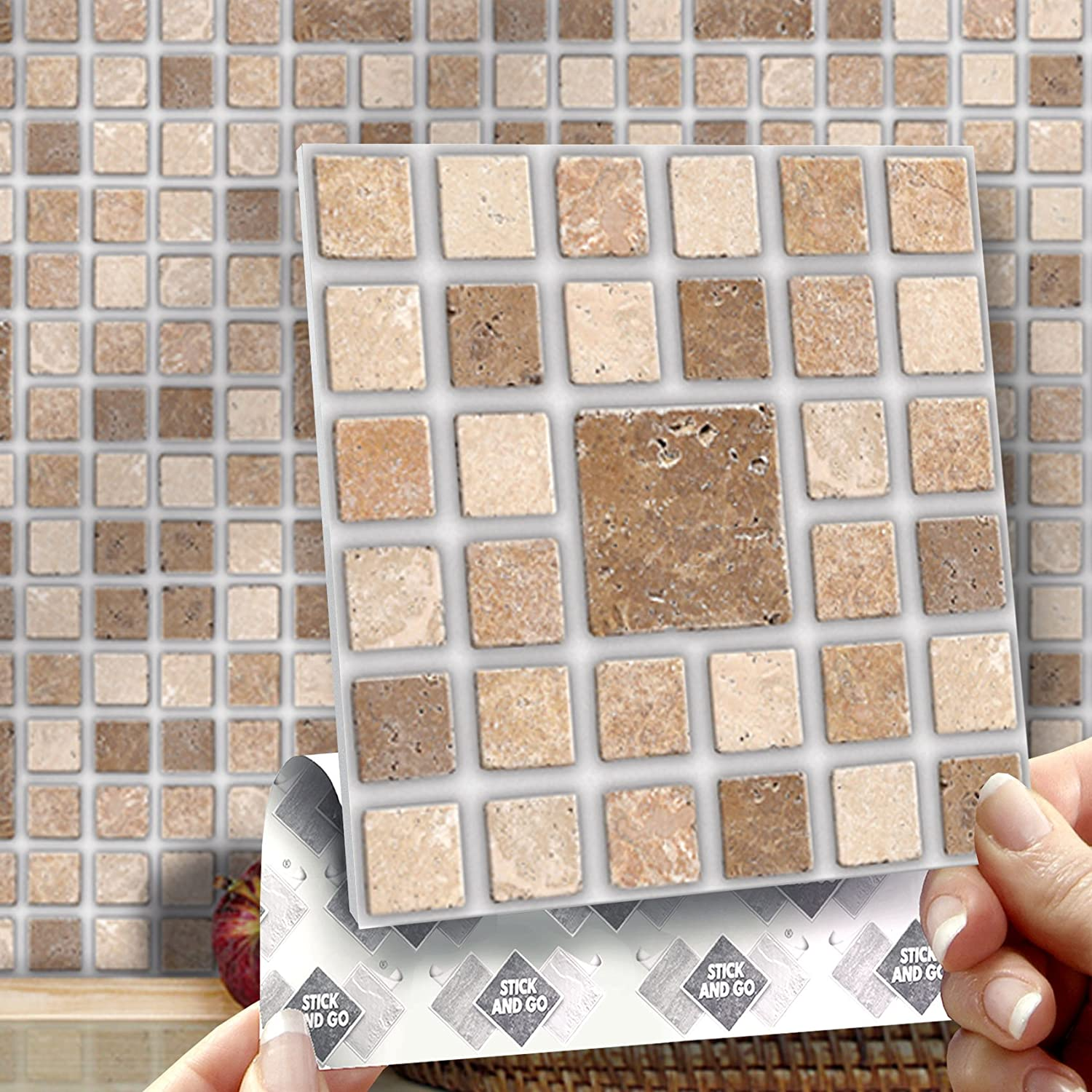 ROMAN MOSAIC EFFECT WALL TILES: Box of 8 tiles Stick and Go Wall ...