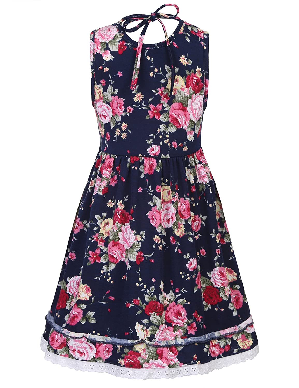 171397d6f734 Amazon.com  BURLADY Little Girls Floral Dress Sleeveless Summer Cute Casual  Sundress  Clothing