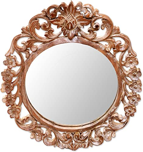NOVICA Hand Carved Natural Suar Wood Floral Round Wall Mirror from Indonesia, Brown Gianyar Garden
