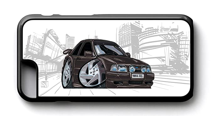 Carcasa de KOOLART unacaricatura de Ford Escort RS Turbo negro - iphone 6/6S funda