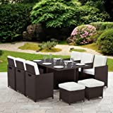 11 Piece 10 Seater Rattan Cube Dining Table Garden Furniture Patio Set (Brown)
