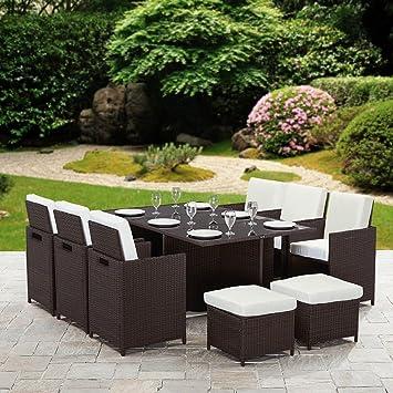 11 piezas 10 Plazas Ratán cubo mesa de comedor muebles de jardín de ...
