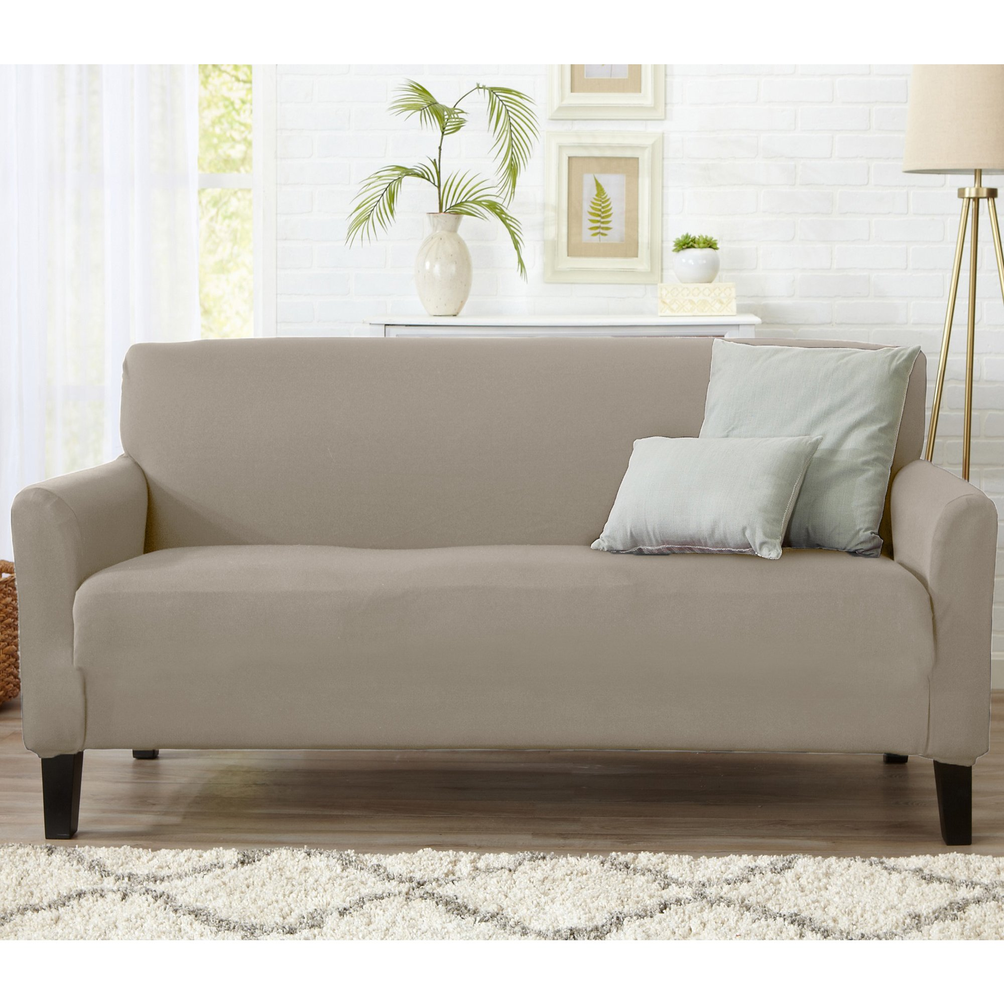 Home Fashion Designs Form Fit, Slip Resistant, Stylish Furniture Cover/Protector Featuring Lightweight Stretch Twill Fabric. Brenna Collection Strapless Slipcover. By Brand. (Sofa, Beige - Solid)