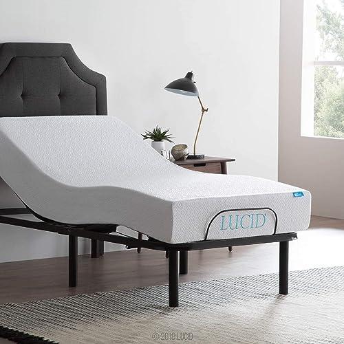 LUCID Steel Frame Adjustable Bed Base, Twin XL
