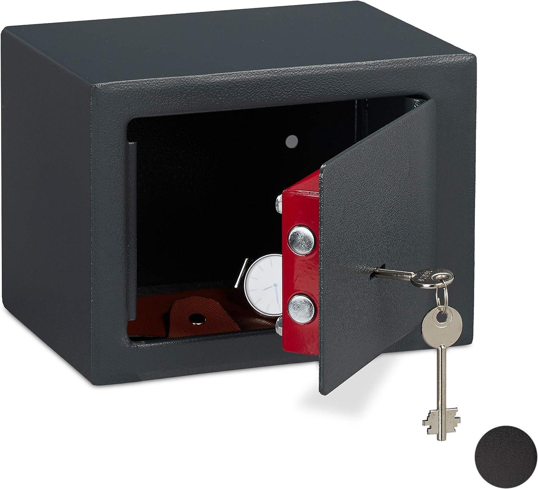 Relaxdays Caja Fuerte Pequeña, Mini Safe con Llaves, Seguridad, para Paredes o Armarios, Acero, 17 x 23 x 17 cm, Gris: Amazon.es: Hogar
