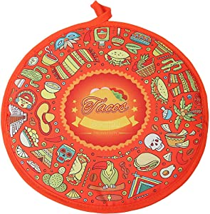 LEONAL Tortilla Warmer Taco 12 Inch Insulated Pouch Cloth - Microwave Use Fabric Bag to Keep Food Warm for up to One Hour (12 Inch, Taco Fiesta Cinco De Mayo Themed Party)
