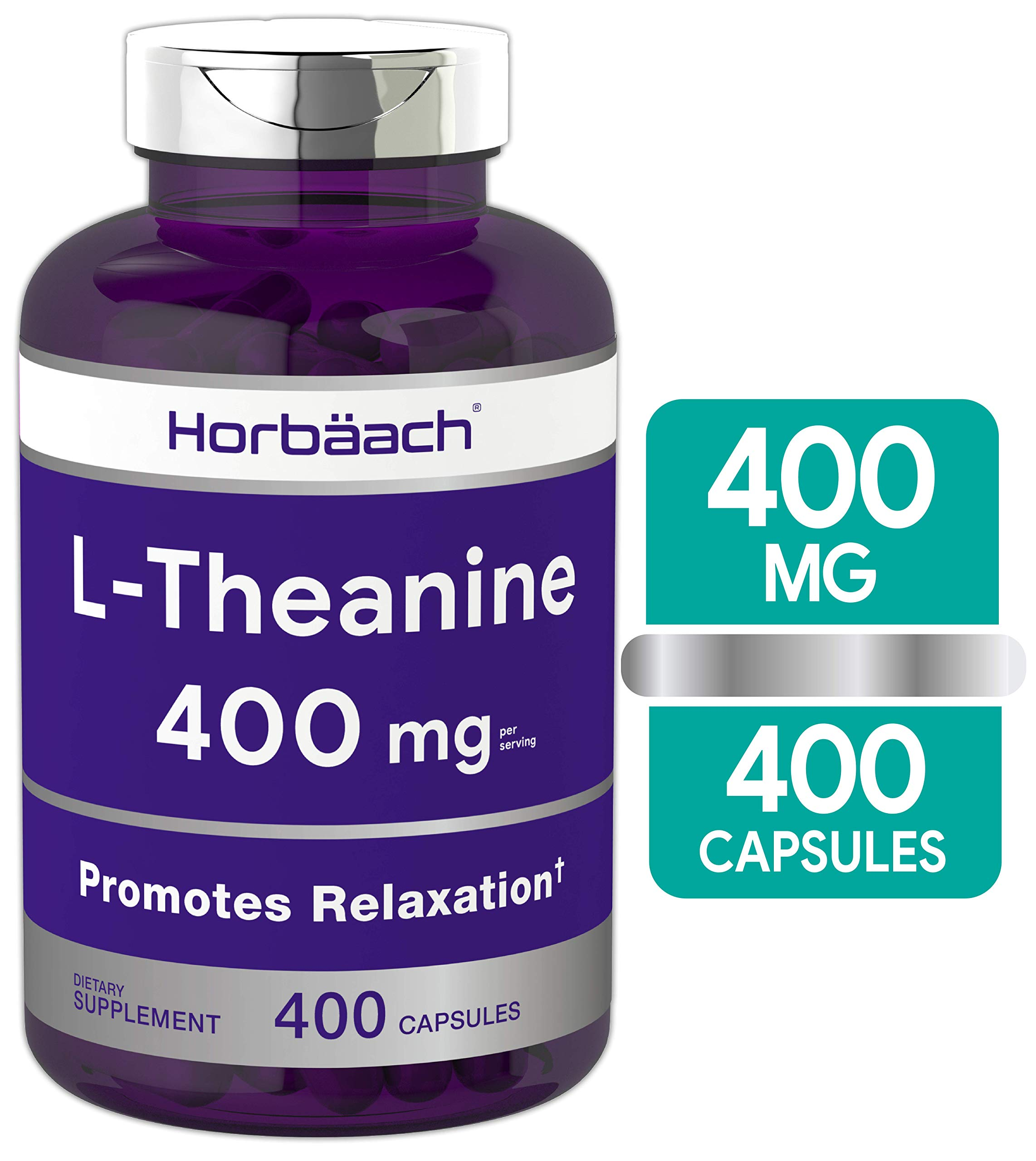 L Theanine 400mg | 400 Capsules Max Size | Non-GMO & Gluten Free | by Horbaach