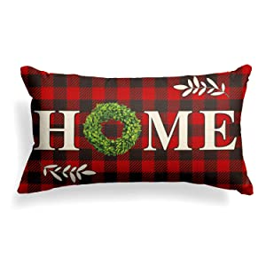 AVOIN Boxwood Wreath Home Throw Pillow Cover, Christmas Valentine Day Buffalo Check Plaid 12 x 20 Inch Farmhouse Linen Cushion Case Decoration for Sofa Couch