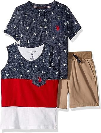 U.S Boys 3 Piece Sleeve Henley T-Shirt and Short Set Polo Assn Tank Top