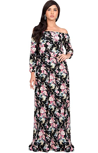 KOH KOH Petite Women Long Off Shoulder Summer Floral Print Cute Boho Long  3 4 e0e9b0cabac3