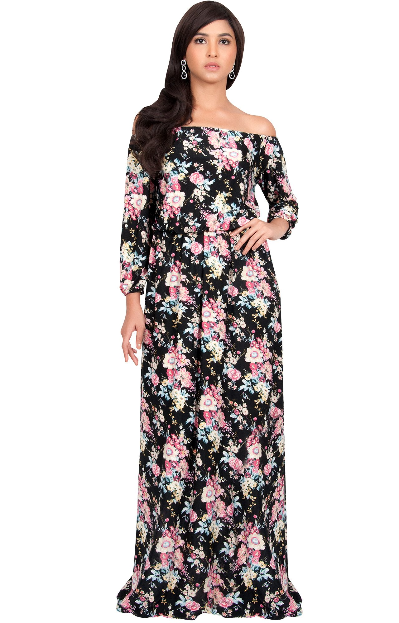 KOH KOH Plus Size Women Long Off Shoulder Summer Floral ...