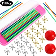2 Sets Jacks Game Toys Kits with Pick Up Sticks, Including 2 Pieces Red Rubber Balls, 20 Pieces Jacks and 90 Pieces Pick Up