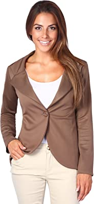 KRISP Womens Boyfriend Blazer One Button Tailored Jacket Party Evening