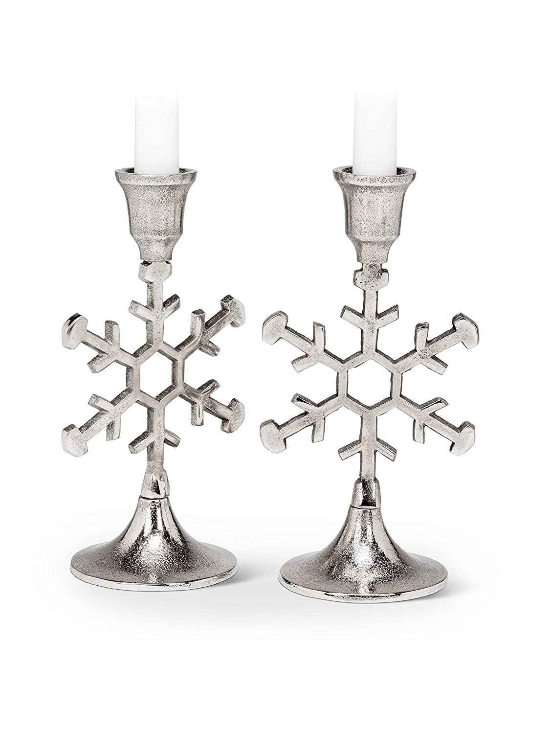 Christmas Snowflake Design Nickel Plated Taper Candle Holder Set of 2