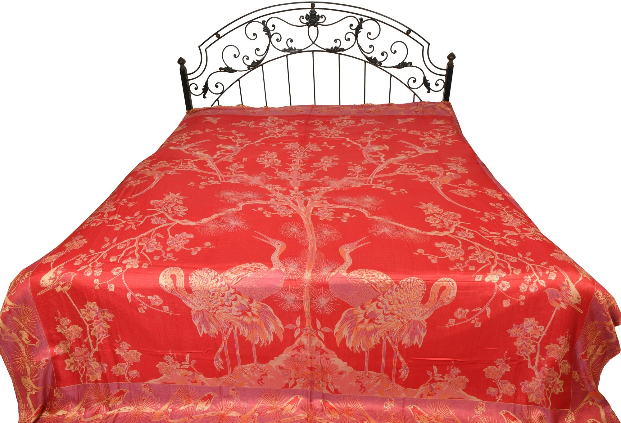 Cardinal-Red Reversible Jamawar Bedspread with Woven Tree of Life - Pure Silk