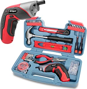 Hi Spec 35 Piece Home DIY Tool Kit with USB Rechargeable Electric Power Screwdriver. Hand Tools & 40 Piece Wall Picture Hanging Kit. All In a Carry Case (Red)